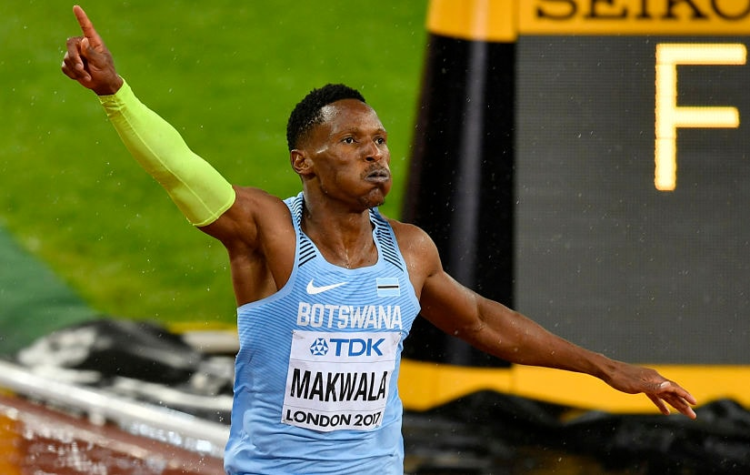 Botswana's Isaac Makwala reacts after crossing the finish line in the men's 200 meters semifinal of the World Athletics Championships in London. AP