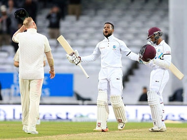 West Indies Shai Hope celebrates after scoring the winning runs during day five of the the second cricket Test match between England and West Indies at Headingley, Leeds, England, Tuesday, Aug. 29, 2017. (Nigel French/PA via AP)