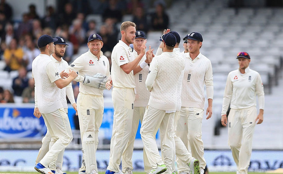 England's Stuart Broad provided the first breakthrough of the day as he got rid of Kieran Powell for 25. AP