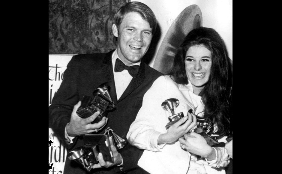 On 28 February 1968, Glen Campbell won six Grammy Awards for both 'Gentle On My Mind' and 'By The Time I Get To Phoenix' at the 10th Annual Grammy Awards. Image from Twitter