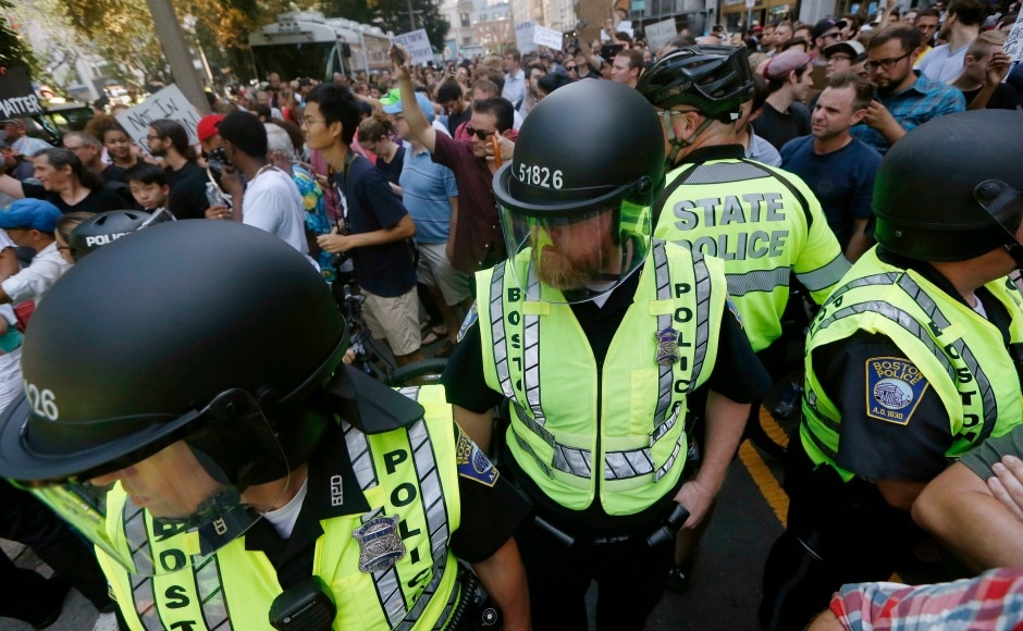 Boston avoided a repeat of last weekend's bloody street battles in Charlottesville as the officials had spent a week planning security for the event. AP