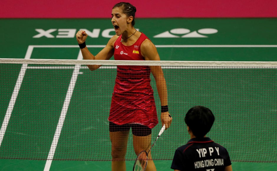 Spain's Carolina Marin advanced to the next round. Here she celebrates during her match against Hong Kong's Yip Pui Yin. Reuters