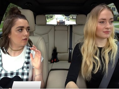Maisie Williams and Sophie Turner in Carpool Karaoke: The Series. Screen grab from YouTube.