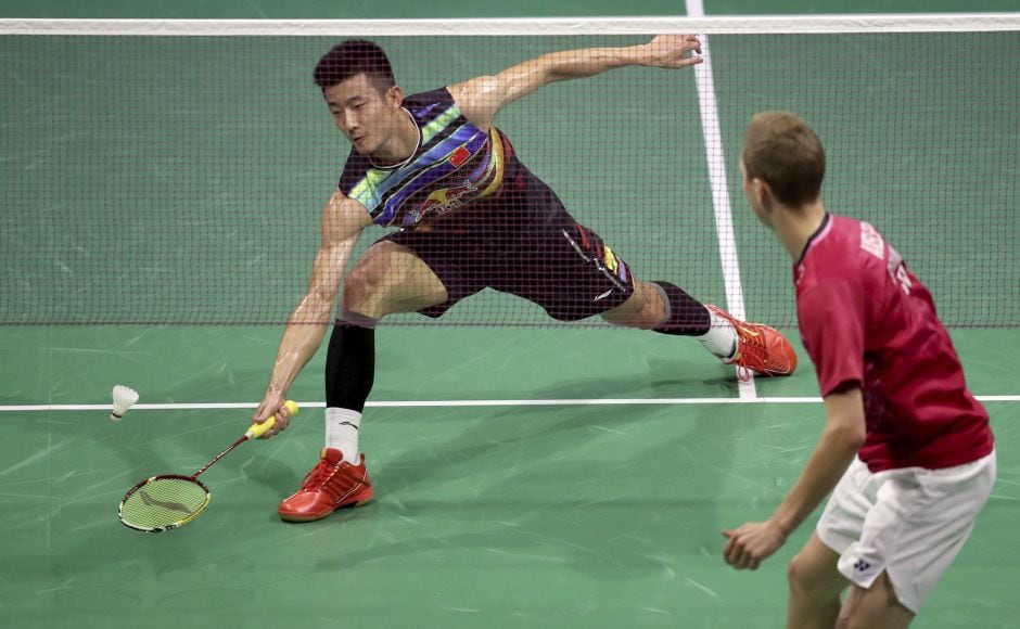 Viktor Axelsen wasted little time dispatching Chen Long, who won the World Badminton Championships in 2014 and 2015 and the Olympics in Rio de Janeiro. AP