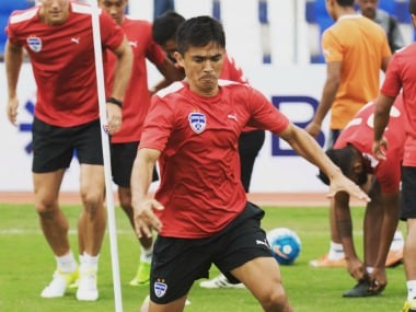 Bengaluru FC captain Sunil Chettri in training ahead of AFC Cup Qualifier match. Image Courtesy: Twitter @bengalurufc