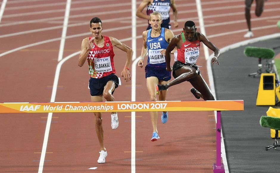 Conseslus Kipruto secured Kenya another gold medal in the steeplechase with an unmatchable kick over the final 300 metres, leaving him enough of a gap to celebrate exuberantly down the final stretch. AP