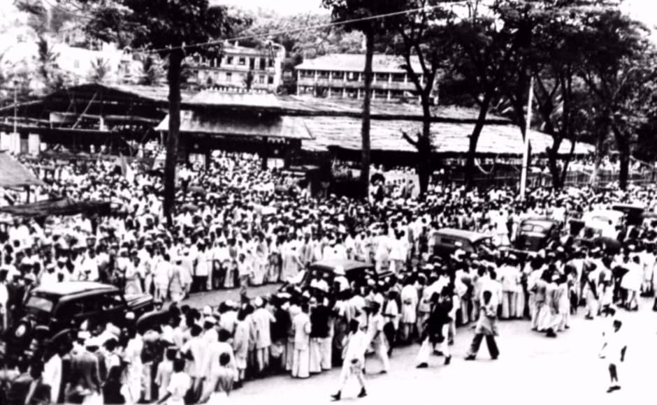 Gandhi's last days in Bihar and Noakhali are also chronicled in the exhibition. Above, a crowd gathers during the Quit India movement, 1942