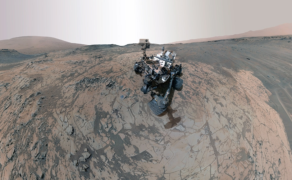 As you are about to find out, Curiosity likes taking selfies as much as any other millenial. This one was snapped near Mount Sharp. Image: NASA.