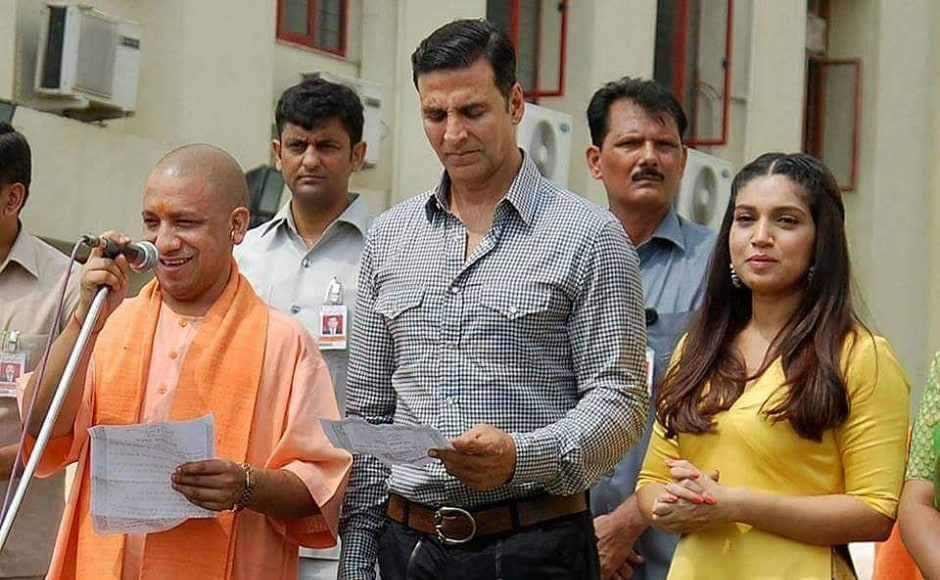 Akshay Kumar was declared the brand ambassador of the Swachh Bharat Mission in Uttar Pradesh, and his upcoming film with Bhumi Pednekar titled Toilet: Ek Prem Katha, which deals with the issue of the lack of adequate sanitation facilities, was declared tax-free in the state. Image from Twiiter
