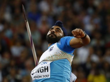 Davinder Singh of India competes in the men's javelin throw at World Athletics Championships. Reuters