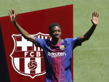 Barcelona's new signing Ousmane Dembele was presented at the Nou Camp on Monday. AP