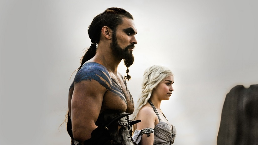 Khal Drogo and Daenerys. Still from Game of Thrones. Image via HBO