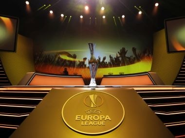 The trophy is displayed before the UEFA Europa League Group Stage draw Friday, Aug. 25, 2017 in Monaco. (AP Photo/Claude Paris)