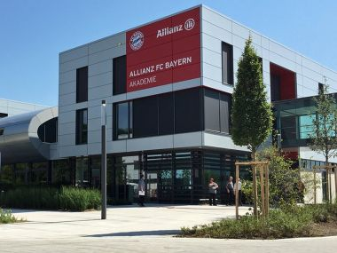 The new facility, near Bayern's Allianz Arena stadium in north Munich, covers 30 hectares, boasts a small stadium plus seven other football pitches, sprint hills, a gym, sports hall, cafeteria and a boarding school which can accommodate 35 youngsters. Image courtesy: Twitter/@FCBjuniorteam
