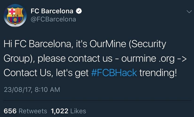 FC Barcelona Twitter account hacked. Image: Twitter/@fcbarcelona