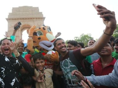 2.5 lakh people turned up at India Gate for the #FIFAU17WC Trophy Experience Image courtesy: Twitter/@IndianFootball