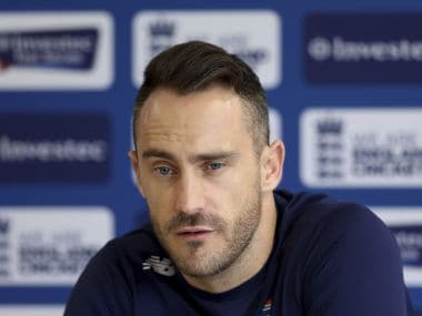 South Africa's Faf du Plessis speaks during a press conference at Old Trafford cricket ground in Manchester, England, Thursday Aug. 3, 2017. On Friday, South Africa will play England again in the final cricket Test match of the current series. England leads the series 2-1.(Simon Cooper/PA via AP)