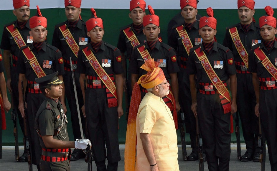 Modi also inspected a guard of honour following his arrival at the Red Fort, where he gave his fourth Independence Day address. PTI