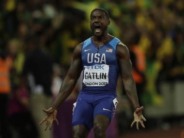 United States' Justin Gatlin celebrates after crossing the line to win the gold medal in the Men's 100m final during the World Athletics Championships in London, Saturday, Aug. 5, 2017. (AP Photo/Tim Ireland)