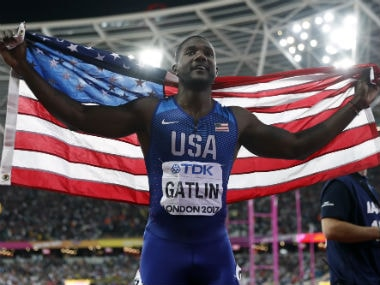 Justin Gatlin, 35, became the oldest winner in 100m event at the World Championships. Reuters