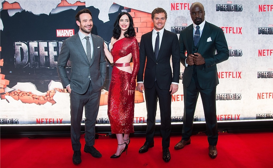 NEW YORK, NY - 31 JULY: (Left to right) Charlie Cox, Krysten Ritter, Finn Jones and Mike Colter attend the 'Marvel's The Defenders' New York premiere at Tribeca Performing Arts Center on 31 July, 2017 in New York City. (Photo by Michael Stewart/Getty Images)