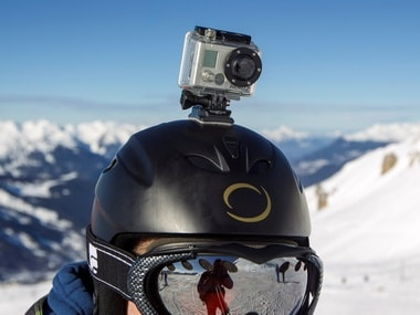 A GoPro camera is seen on a skier's helmet. Reuters.