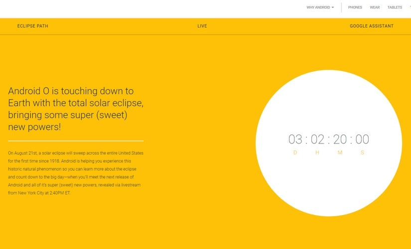 Android O launch countdown. Google