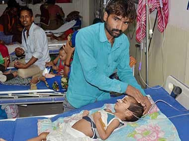 An inside view of a ward of BRD Hospital in Gorakhpur on Friday where at least 30 children died since the past two days. PTI