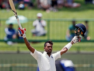 Hardik Pandya brought up his century in 86 deliveries in the third Test against Sri Lanka. Reuters