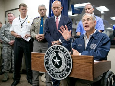 Texas gover Greg Abbott addresses a press conference in Austin, Texas. AP