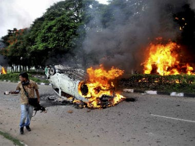 File image of violence in Panchkula. PTI