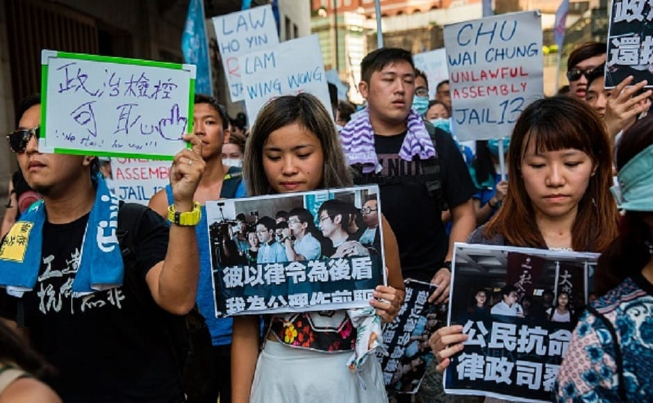 Hong Kong court sentenced three young organisers of the protests Joshua Wong, Nathan Law and Alex Chow to jail terms ranging from six to eight months. Getty Images