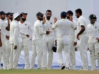 Indian players celebrate the dismissal of Sri Lanka's Upul Tharanga during their second Test. AP