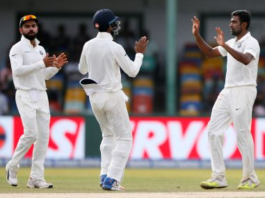 Ravichandran Ashwin celebrates after taking the wicket of Dimuth Karunaratne. Reuters