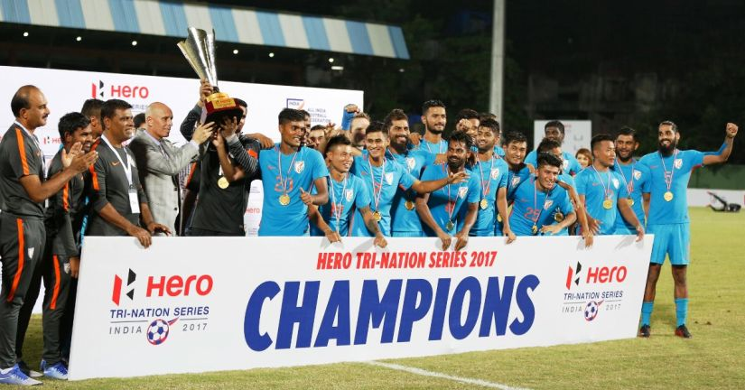 Indian football team with the Tri-Nation Series trophy. Image courtesy: Twitter @IndianFootball