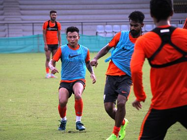 Jackichand Singh in action during Indian national team's training session. Indian Football Team