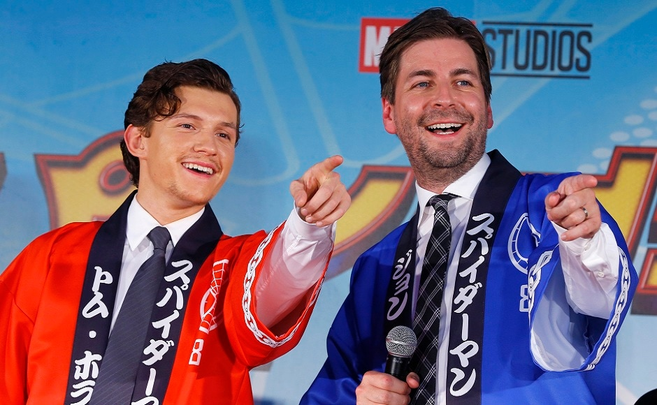 Holland (left) and Watts (right) point to fans during the Japan premiere of their film 'Spider-Man: Homecoming' in Tokyo, Monday, 7 August, 2017. Image via AP/Shizuo Kambayashi.