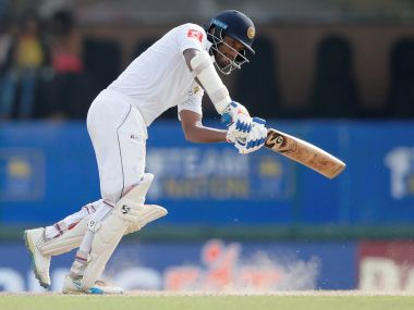 Sri Lanka's Dimuth Karunaratne plays a shot during the second Test against India. Reuters