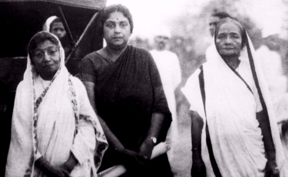 The exhibition has been curated by Prof Aparna Basu, former professor of History and chairperson, National Gandhi Museum. In this photo, Kasturba Gandhi is seen with Kamaladevi Chattopadhyay