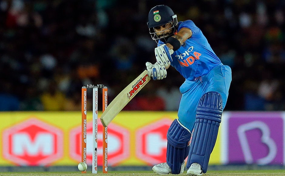 India's captain Virat Kohli plays a shot, his love affair with chases continued as he remained unbeaten on 82. AP