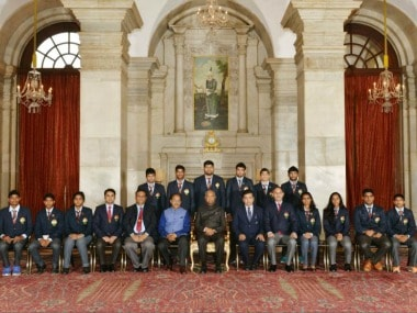 President Kovind presented National Sports Awards at Rashtrapati Bhavan. Image Courtesy: Twitter @rashtrapatibhvn