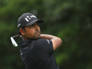 Indian golfer Anirban Lahiri in action at Wyndham Championship.  Image Courtesy: Twitter @anirbangolf