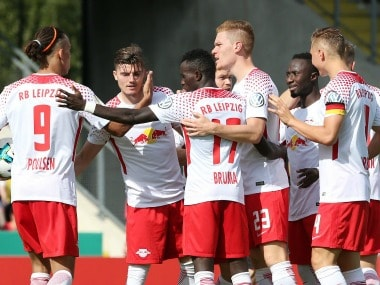 RB Leipzig players in action.  Image Courtesy: Twitter @RBLeipzig_EN