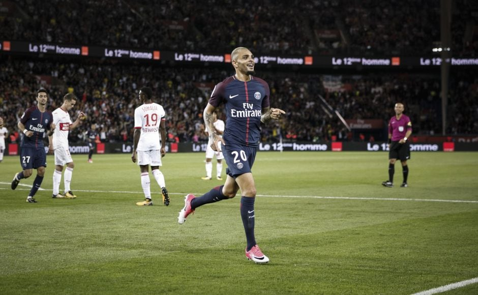 PSG's Layvin Kurzawa celebrates after scoring against Toulouse. Neymar whipped over a clever corner that left back Layvin Kurzawa met with a spectacular scissor kick. AP