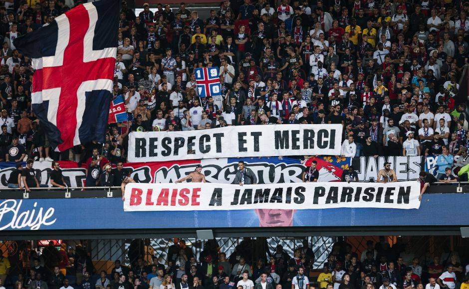 "PSG supporters holds a banner reading ""Respect and thank you. Blaise forever Parisian"" during the match between PSG and Toulouse at the Parc des Princes stadium. Blaise Matuidi joined Juventus in £18m deal after a six-year spell with Paris Saint-Germain. AP"