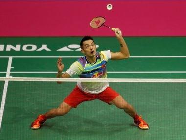 China's Lin Dan in action versus South Korea's Son Wan Ho. Reuters