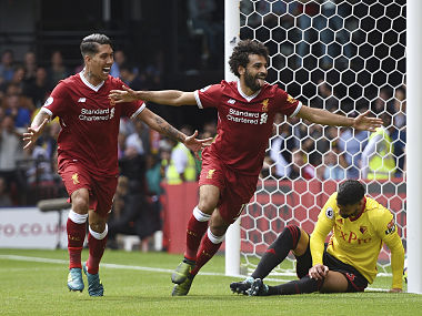 Liverpool's Mohamed Salah after scoring his side's third goal during match against Waford. AP