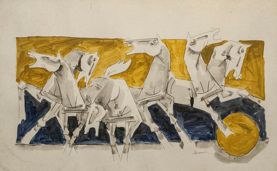 Akar Prakar's Synchrome — Masters brings together some of the most well known Indian artists, and some lesser known ones. MF Husain, Watercolour on paper