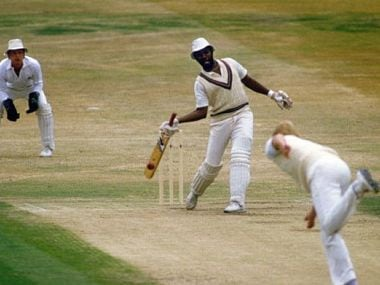 Malcolm Marshall batting with one hand. Image Courtesy: @westindies/Twitter