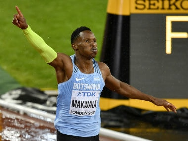 Botswana's Isaac Makwala reacts after crossing the finish line in his heat of the Men's 200 meters semifinal at the World Athletics Championships in London. AP